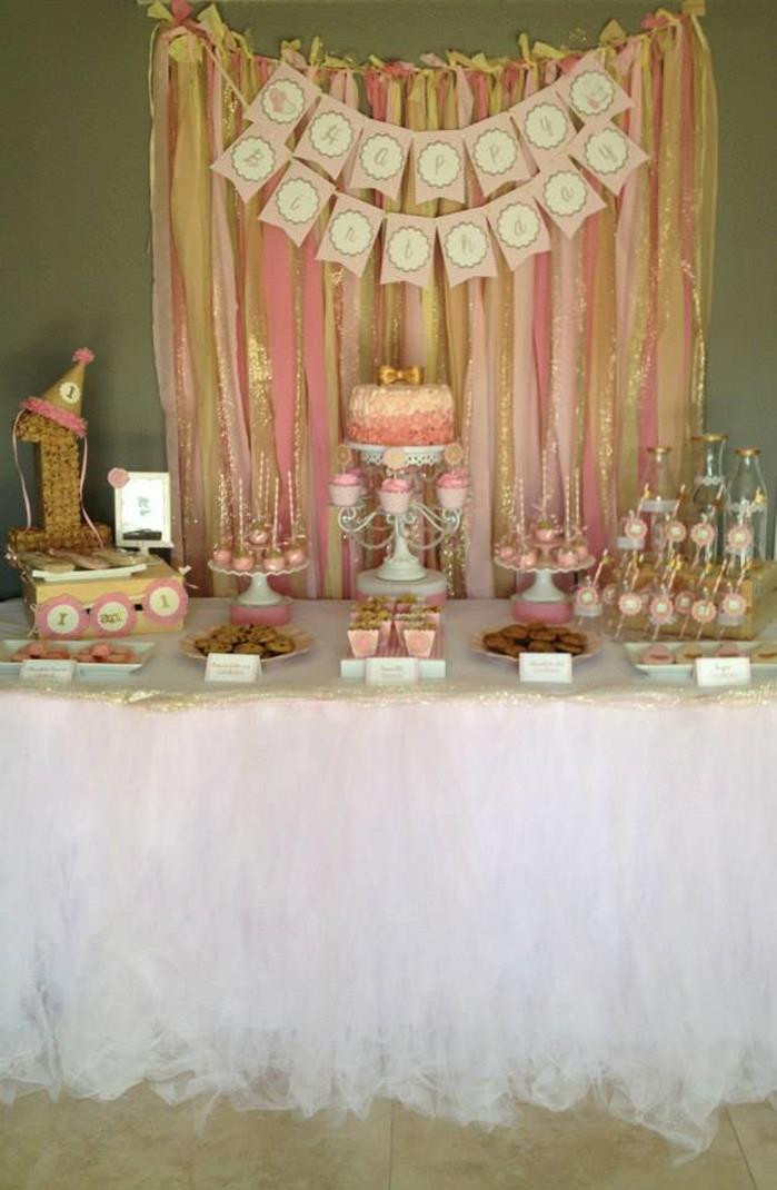 Best ideas about Pink And Gold Birthday Party Decorations . Save or Pin Kara s Party Ideas Pink and Gold Milk and Cookies Party Now.