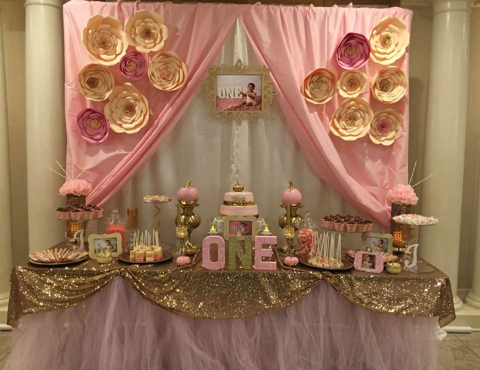 """Best ideas about Pink And Gold First Birthday Decorations . Save or Pin Pink & gold Birthday """"Pink & Gold 1st Birthday"""" Now."""
