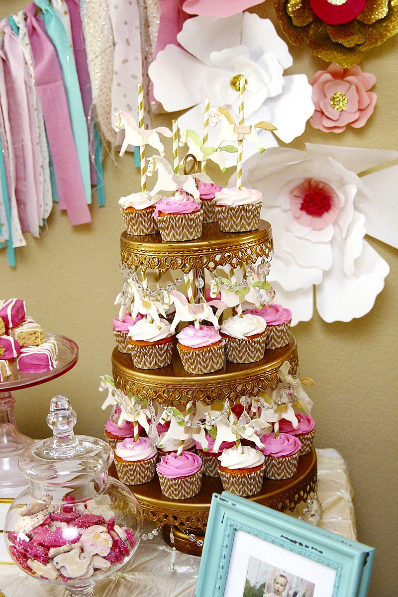 Best ideas about Pink And Gold First Birthday Decorations . Save or Pin A Pink & Gold Carousel 1st Birthday Party Party Ideas Now.