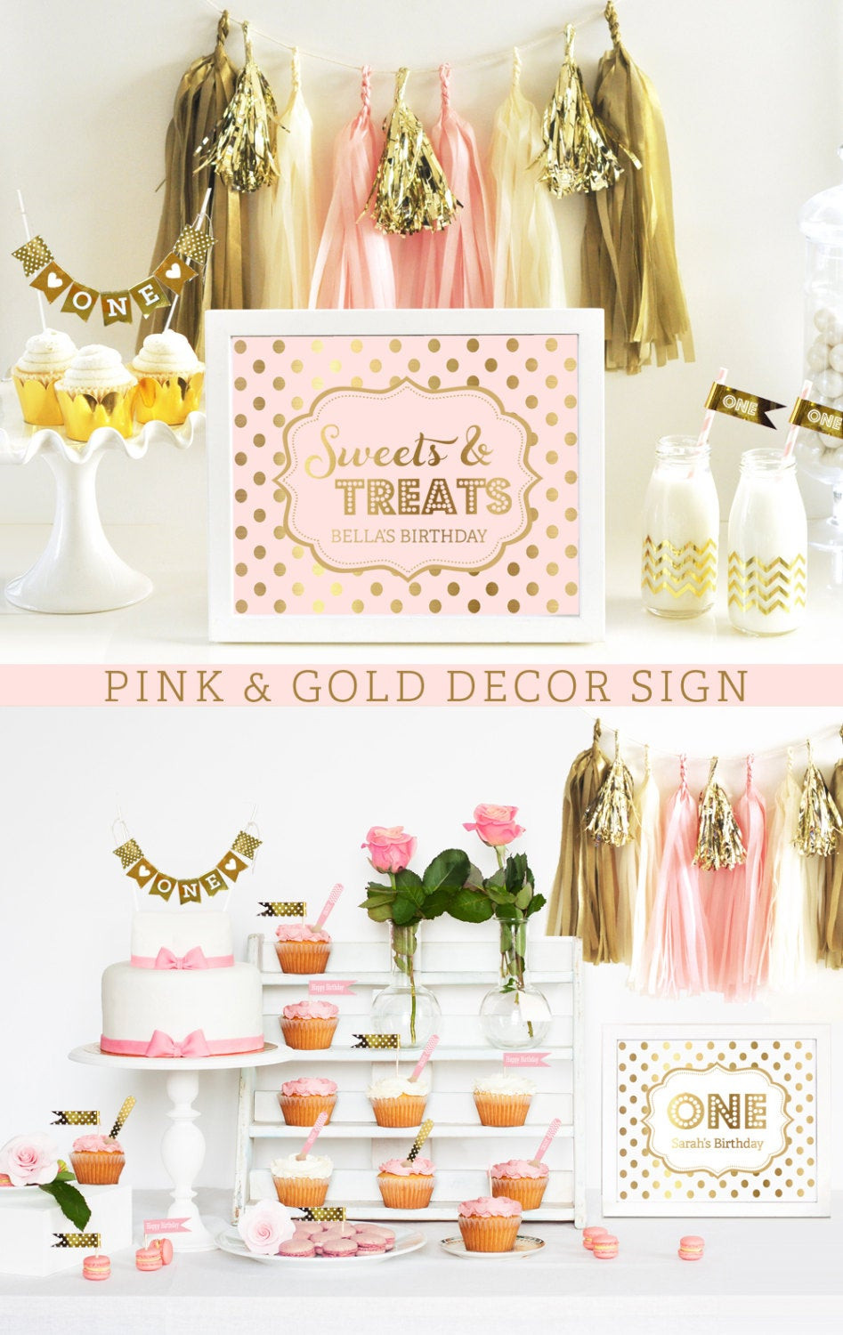 Best ideas about Pink And Gold First Birthday Decorations . Save or Pin Pink and Gold Decorations Pink and Gold First Birthday Pink Now.