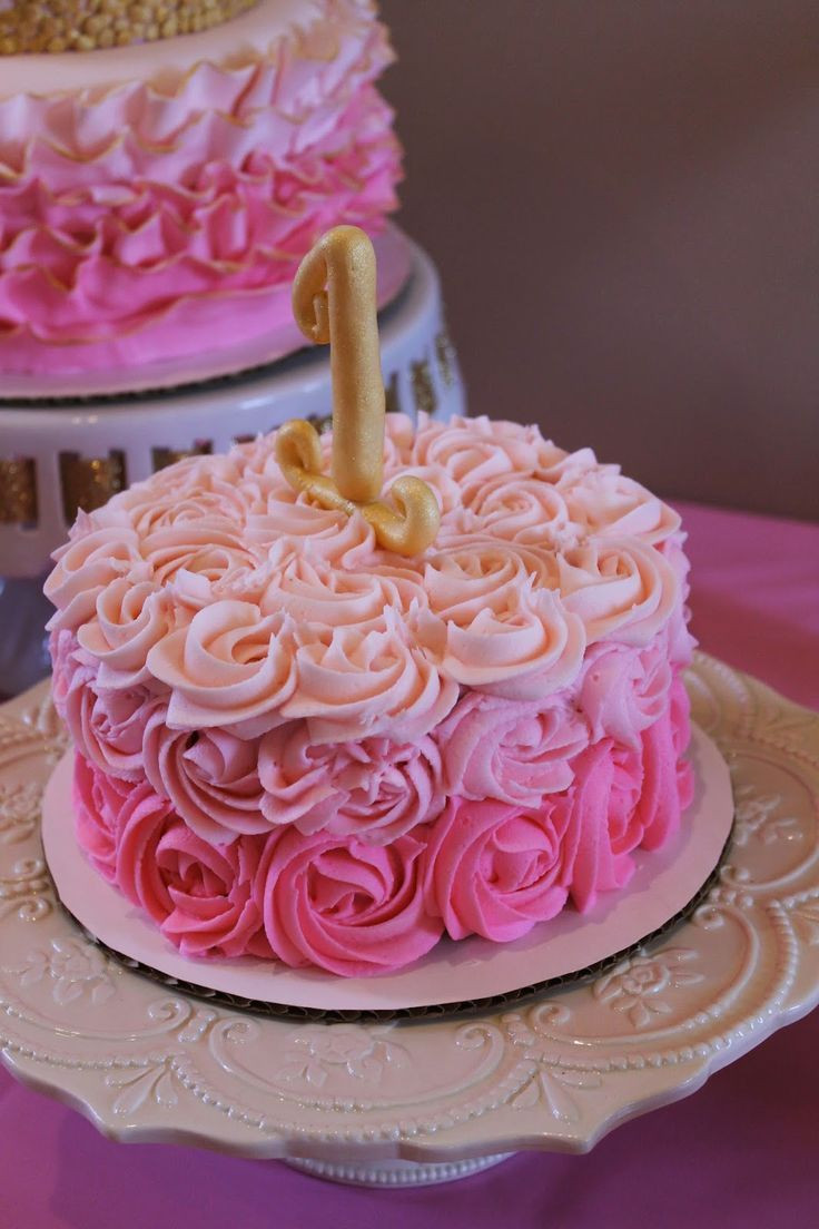 Best ideas about Pink Birthday Cake . Save or Pin pink ombre rosette smash cake first birthday pink and Now.