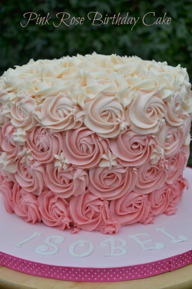 Best ideas about Pink Birthday Cake . Save or Pin Pink Rose Ombre Buttercream Swirl Birthday Cake Now.