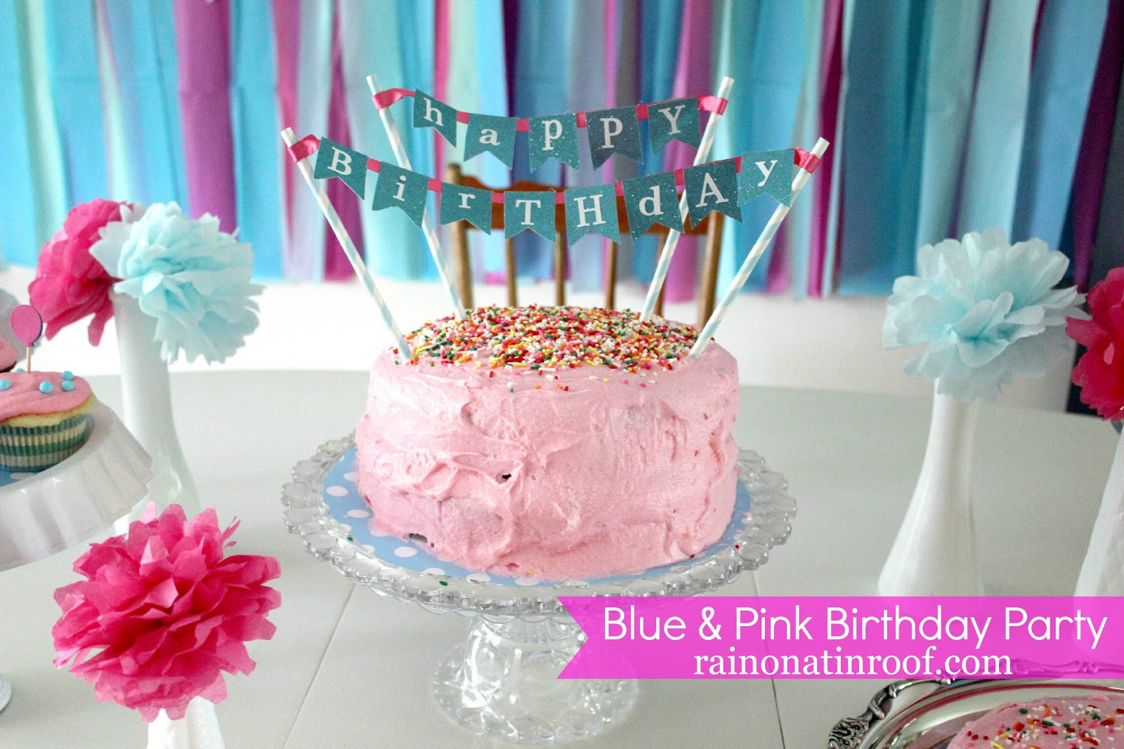 Best ideas about Pink Birthday Party Decorations . Save or Pin A Stylish Blue and Pink Birthday Party Now.
