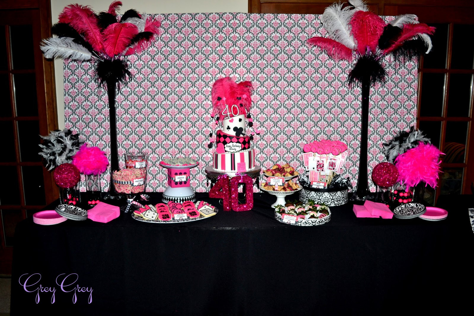 Best ideas about Pink Birthday Party Decorations . Save or Pin GreyGrey Designs My Parties Hot Pink Glamorous Casino Now.