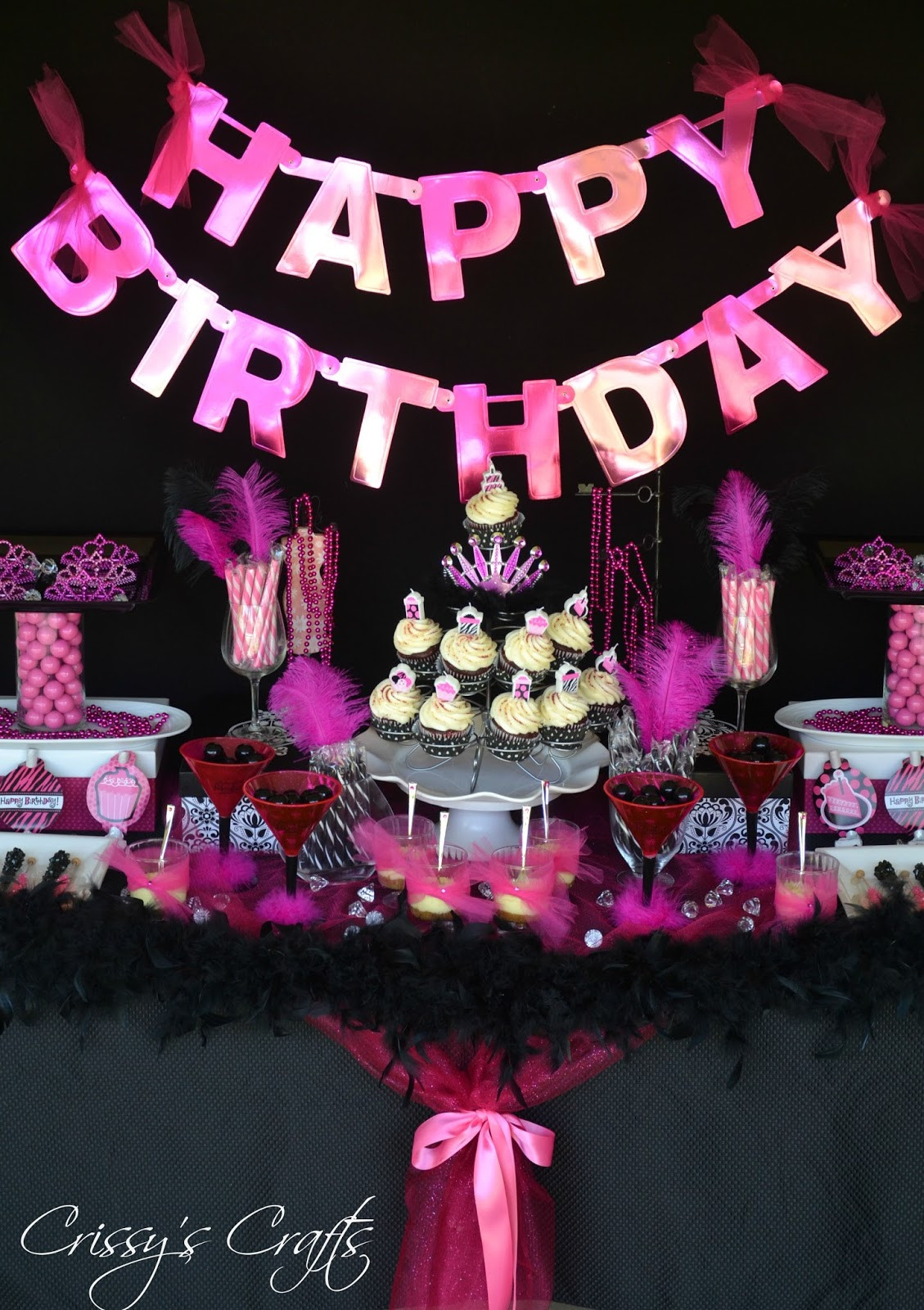 Best ideas about Pink Birthday Party Decorations . Save or Pin Crissy s Crafts Glam Pink and Black Another Year of Now.