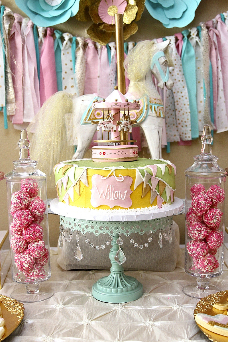 Best ideas about Pink Birthday Party Decorations . Save or Pin A Pink & Gold Carousel 1st Birthday Party Party Ideas Now.