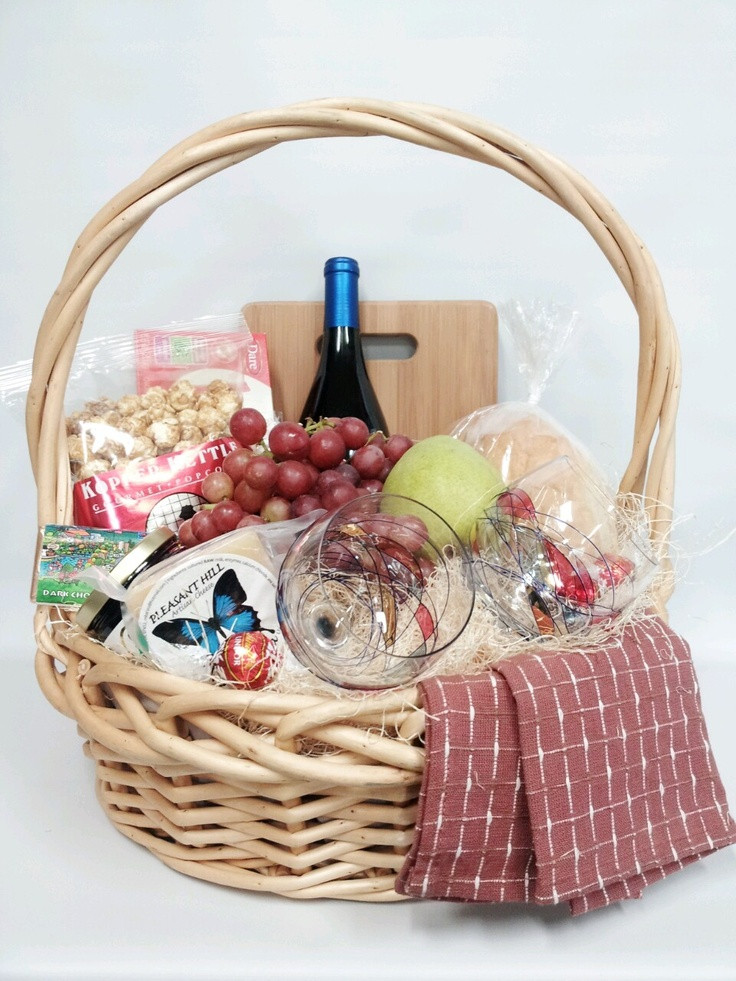 Best ideas about Pinterest Gift Basket Ideas . Save or Pin Gourmet & Gluten food and wine basket as a Christmas t Now.