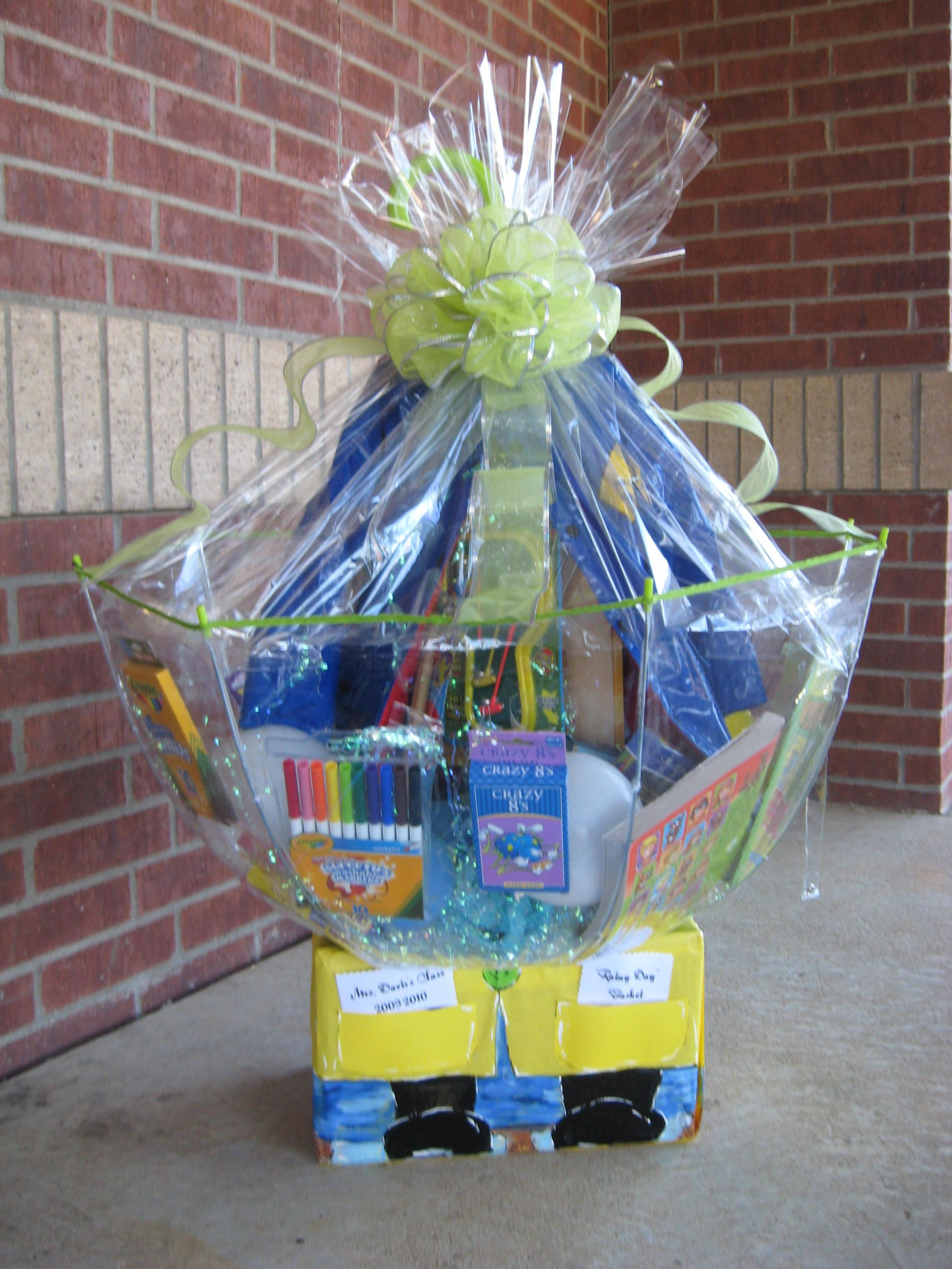 """Best ideas about Pinterest Gift Basket Ideas . Save or Pin Class Basket """"Rainy Day"""" Now."""