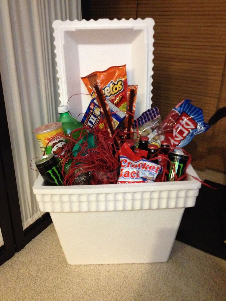 Best ideas about Pinterest Gift Basket Ideas . Save or Pin Man food cooler Father s Day t basket Now.