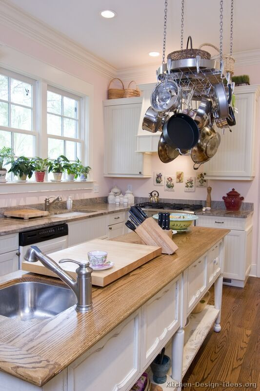 Best ideas about Pinterest Kitchen Decorating . Save or Pin Kitchen Idea of the Day Cottage Kitchen with hanging pot Now.