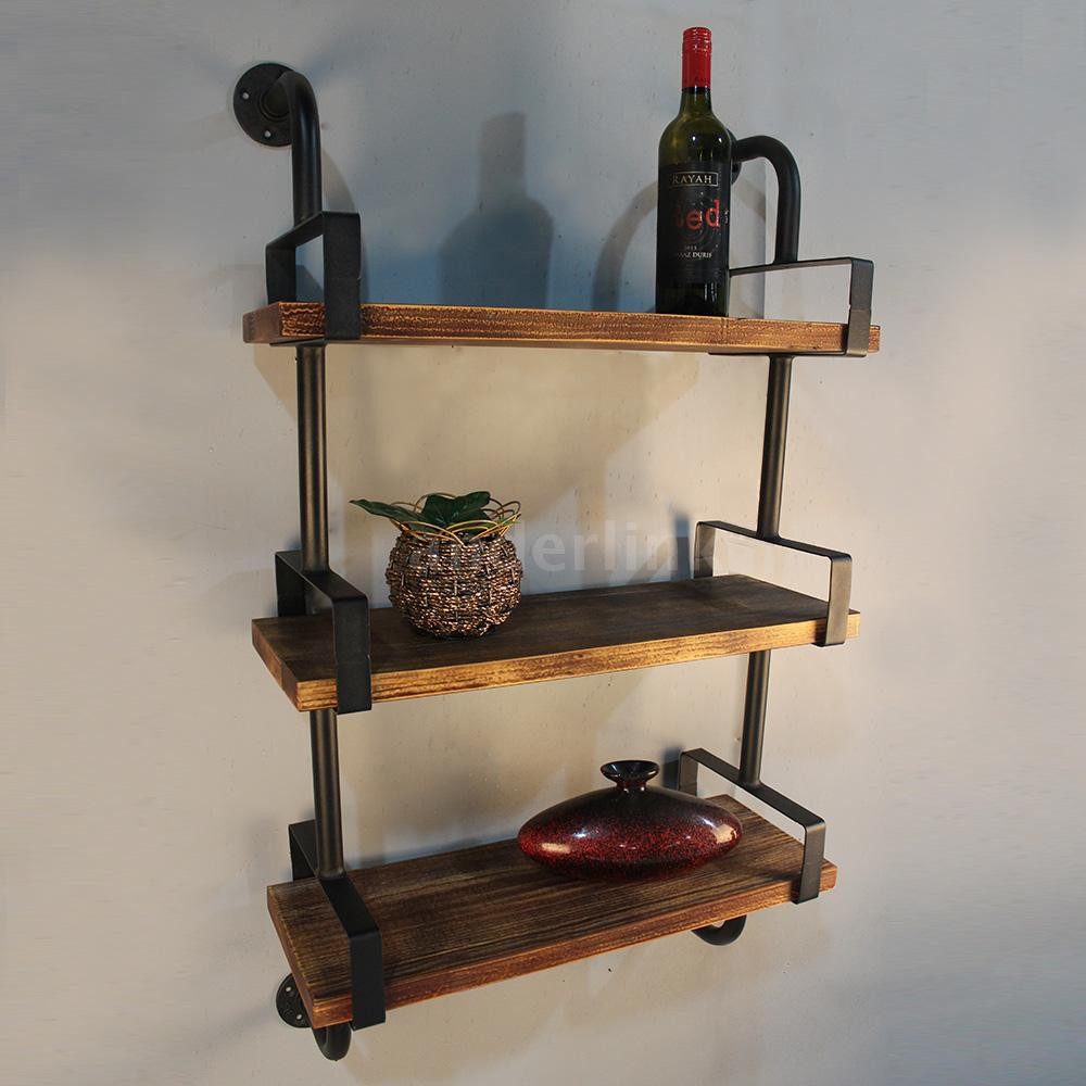 Best ideas about Pipe Shelves DIY . Save or Pin 3 Tier Rustic Industrial Iron Pipe Wall Shelves W Wood Now.