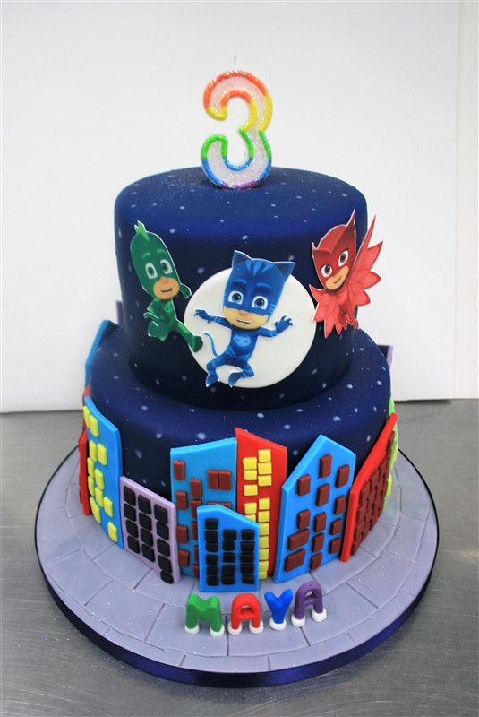 Best ideas about Pj Masks Birthday Cake Ideas . Save or Pin PJ Mask Themed Tiered Birthday Cake Now.