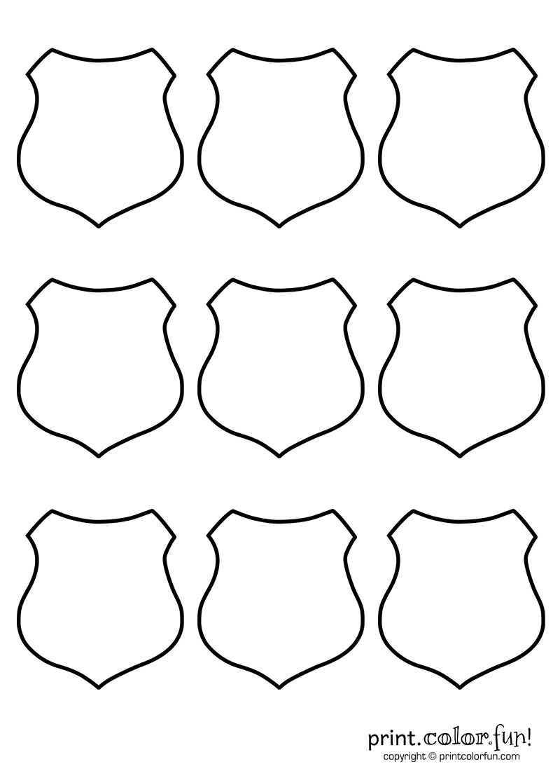 Best ideas about Police Badge Printable Coloring Pages . Save or Pin 9 blank shields coloring page Print Color Fun Now.