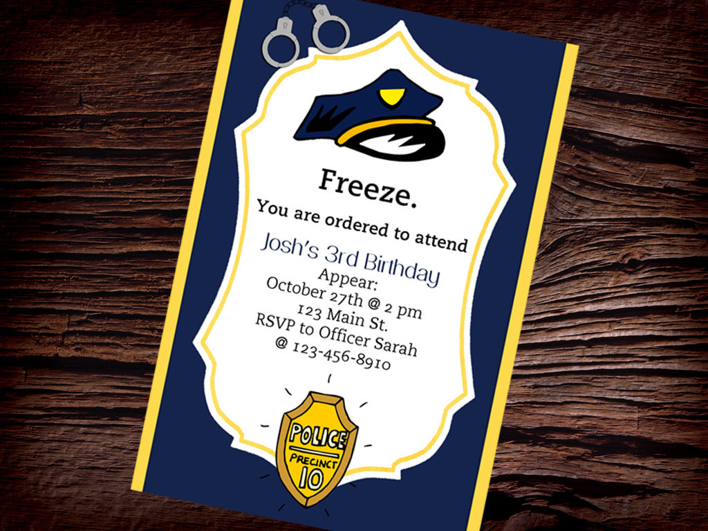 Best ideas about Police Birthday Invitations . Save or Pin PERSONALIZED POLICE INVITATION Printable Police Birthday Now.