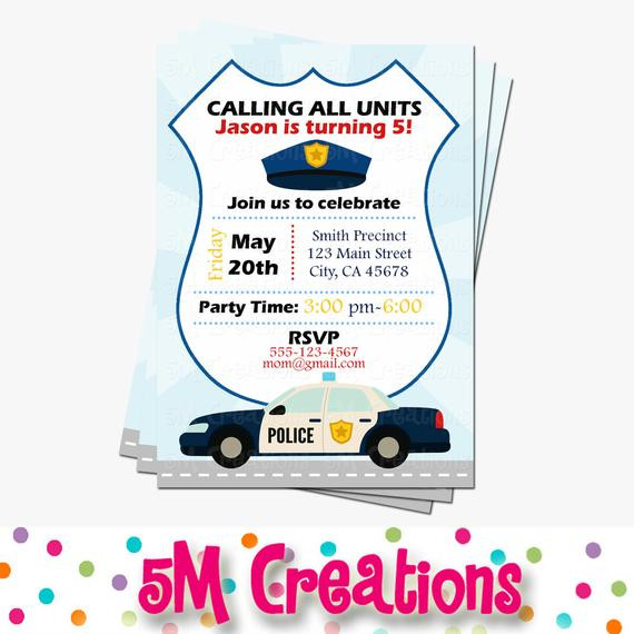 Best ideas about Police Birthday Invitations . Save or Pin Police Party Invitations Cop Party Invite Police Birthday Now.