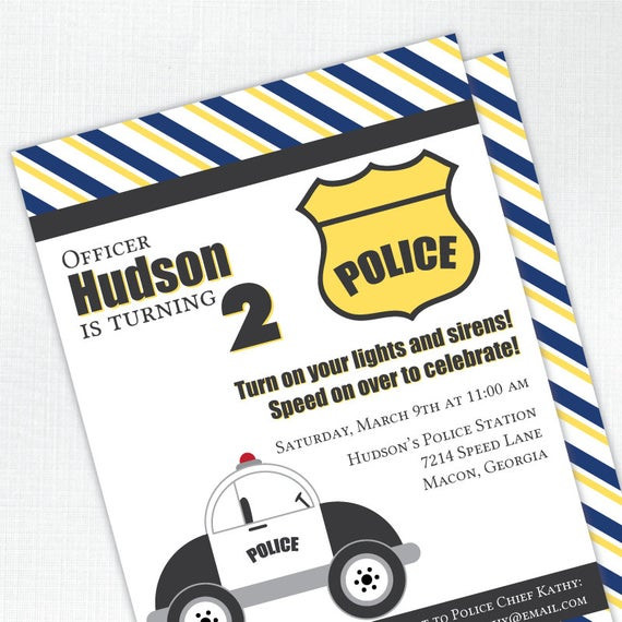 Best ideas about Police Birthday Invitations . Save or Pin Police Birthday Invitation Police Car Kids by Now.