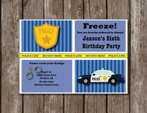 Best ideas about Police Birthday Invitations . Save or Pin Police Themed Birthday Invitation Now.