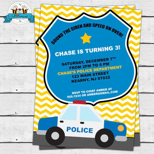 Best ideas about Police Birthday Invitations . Save or Pin Police Birthday invitation DIY Cops and Robbers Party Now.