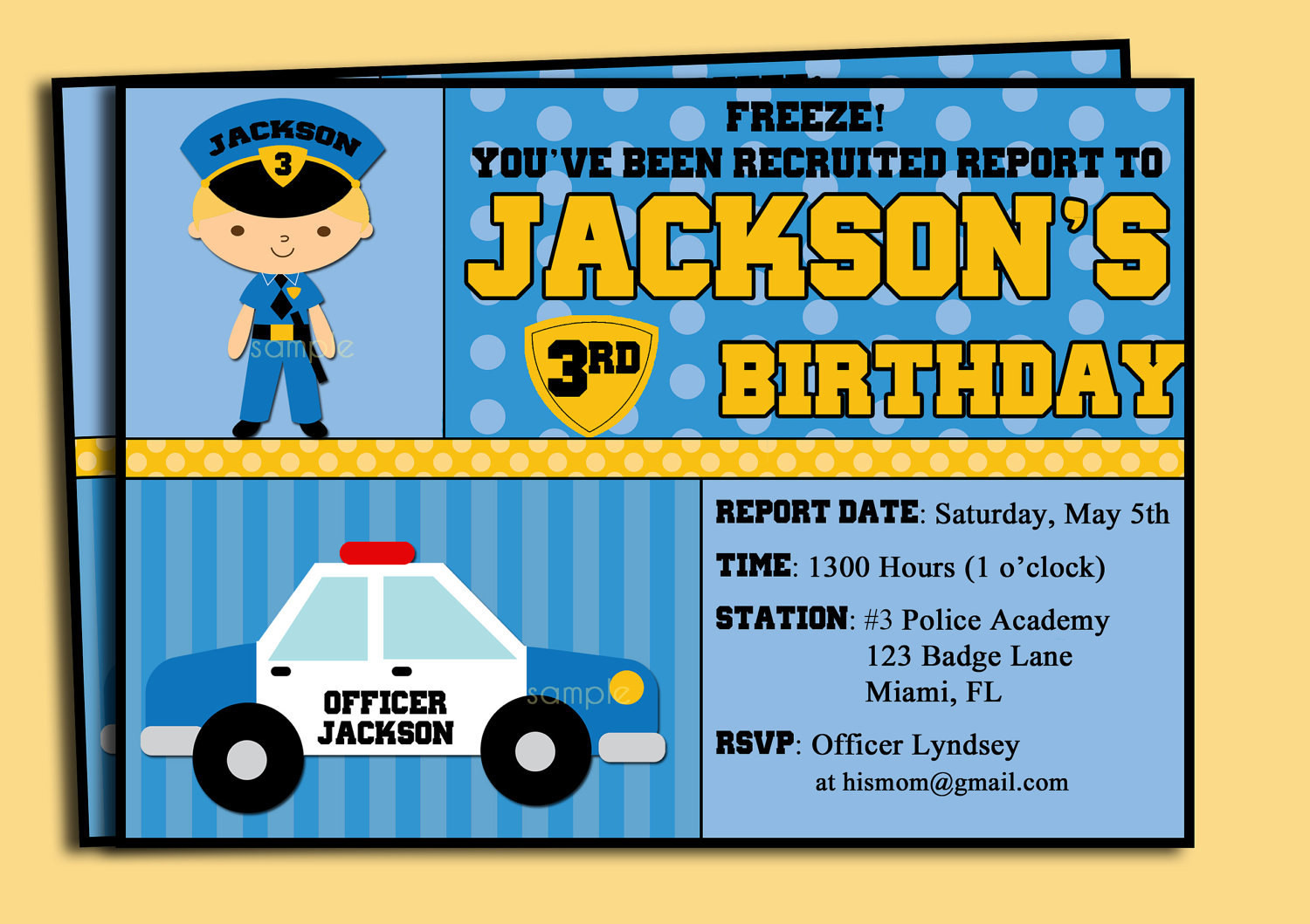 Best ideas about Police Birthday Invitations . Save or Pin Police ficer Invitation Printable or Printed by Now.