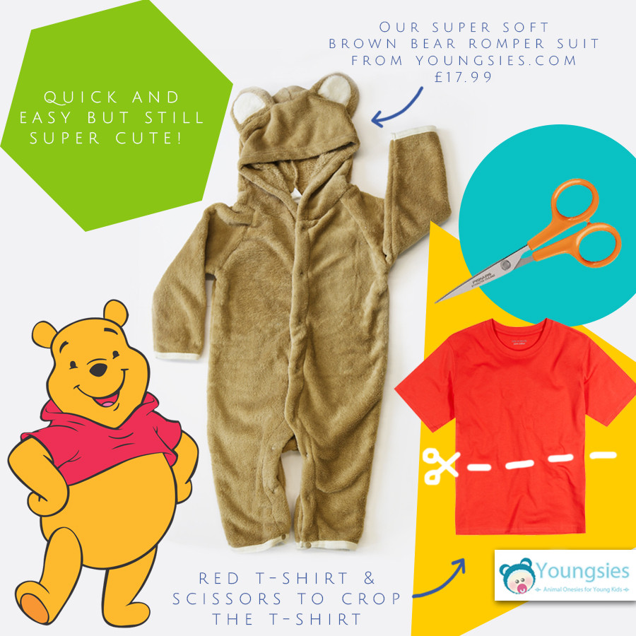 Best ideas about Pooh Bear Costume DIY . Save or Pin Toddlers Bear esie Romper suit with feet and hood Now.