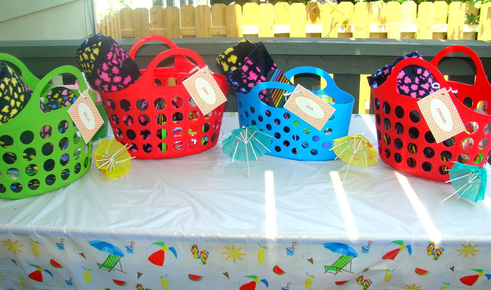 Best ideas about Pool Gift Ideas . Save or Pin pool party t baskets beach towels flip flops treats Now.