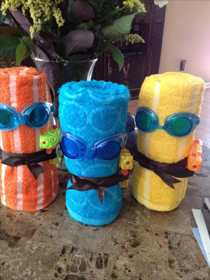 """Best ideas about Pool Gift Ideas . Save or Pin Pool party t ideas """"towel minions"""" Evan Now."""