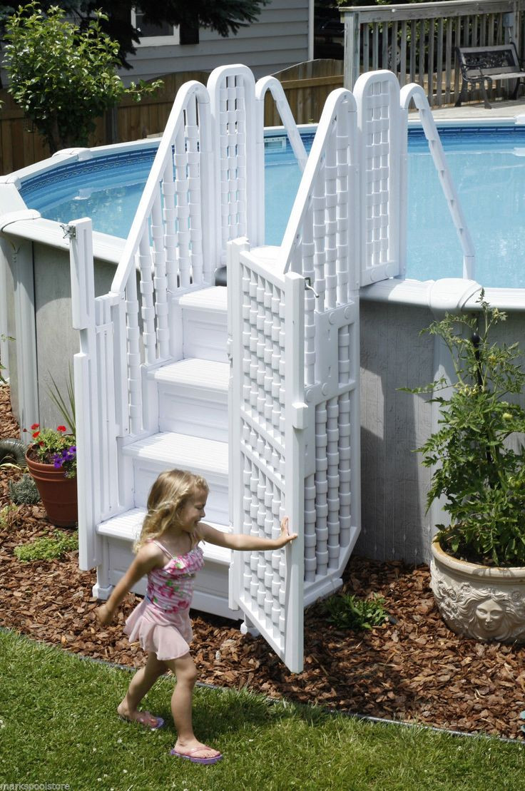 Best ideas about Pool Stairs Above Ground . Save or Pin 25 best ideas about ground pool ladders on Now.