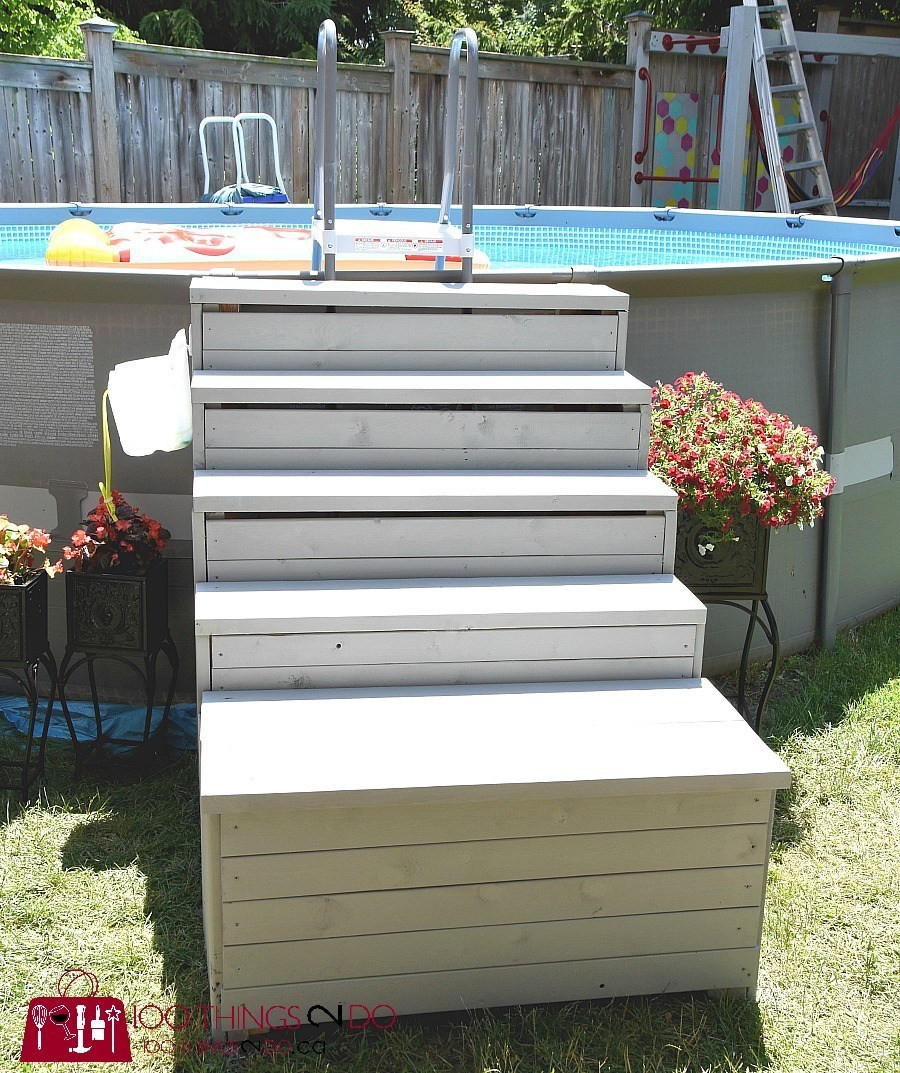 Best ideas about Pool Stairs Above Ground . Save or Pin DIY ground pool ladder stairs Now.