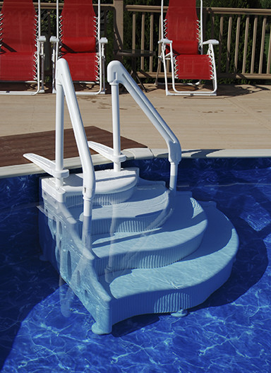 Best ideas about Pool Stairs Above Ground . Save or Pin Ground Pool Steps and Ground Pool Ladders Now.