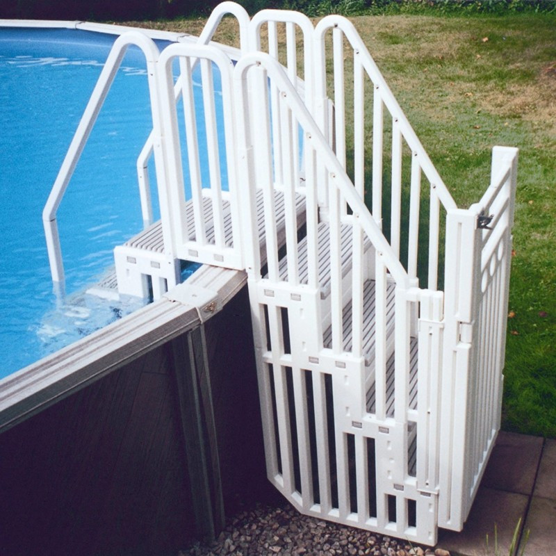Best ideas about Pool Stairs Above Ground . Save or Pin Ground Swimming Pool Accessories and Equipment DIY Now.