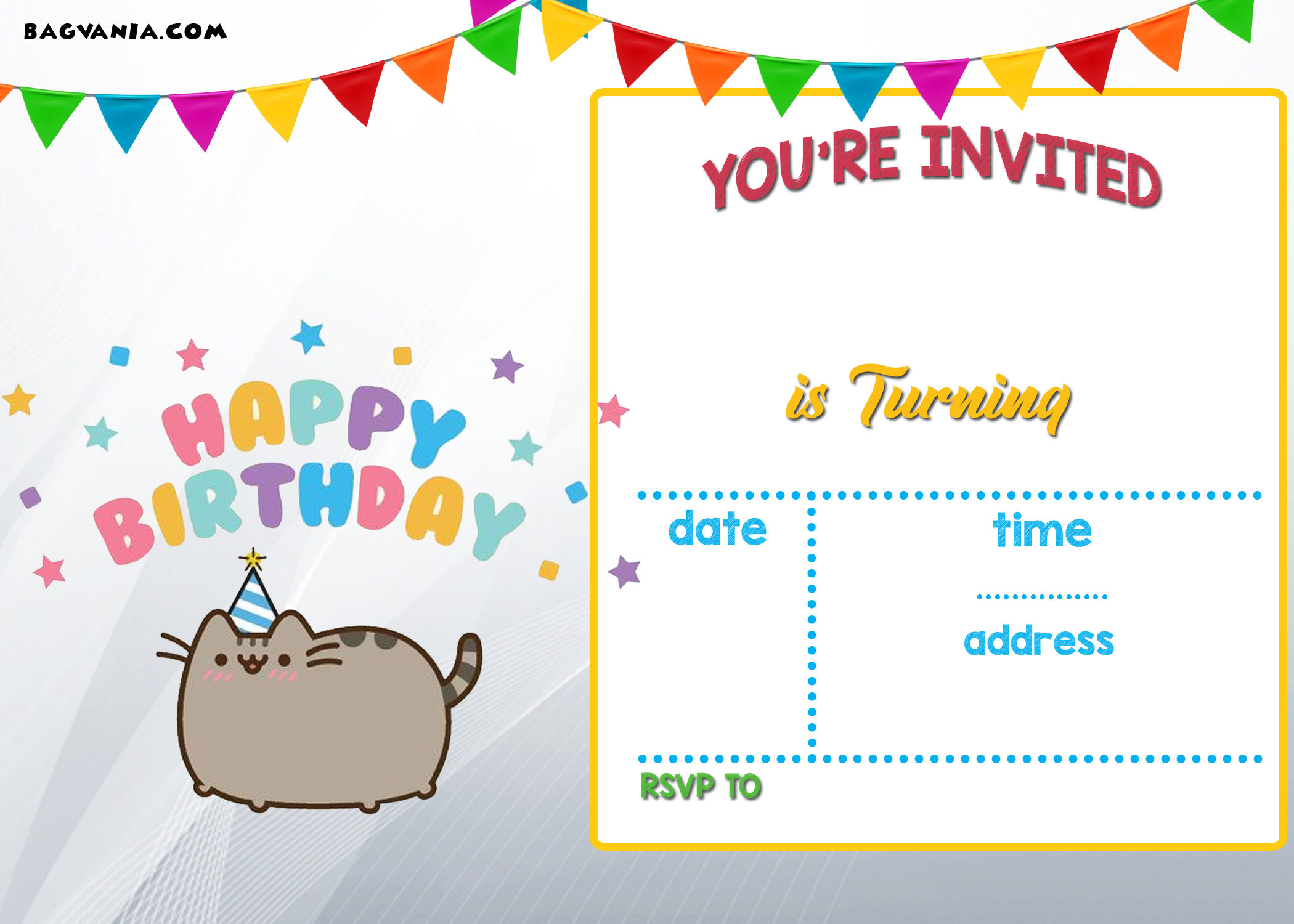 Best ideas about Printable Birthday Invitations . Save or Pin FREE Printable Pusheen Birthday Invitation Template Now.