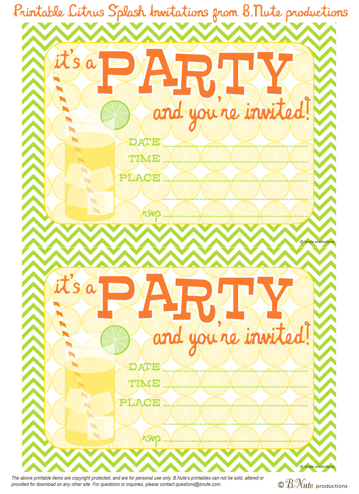 Best ideas about Printable Birthday Invitations . Save or Pin bnute productions Free Printable Citrus Splash Invitations Now.