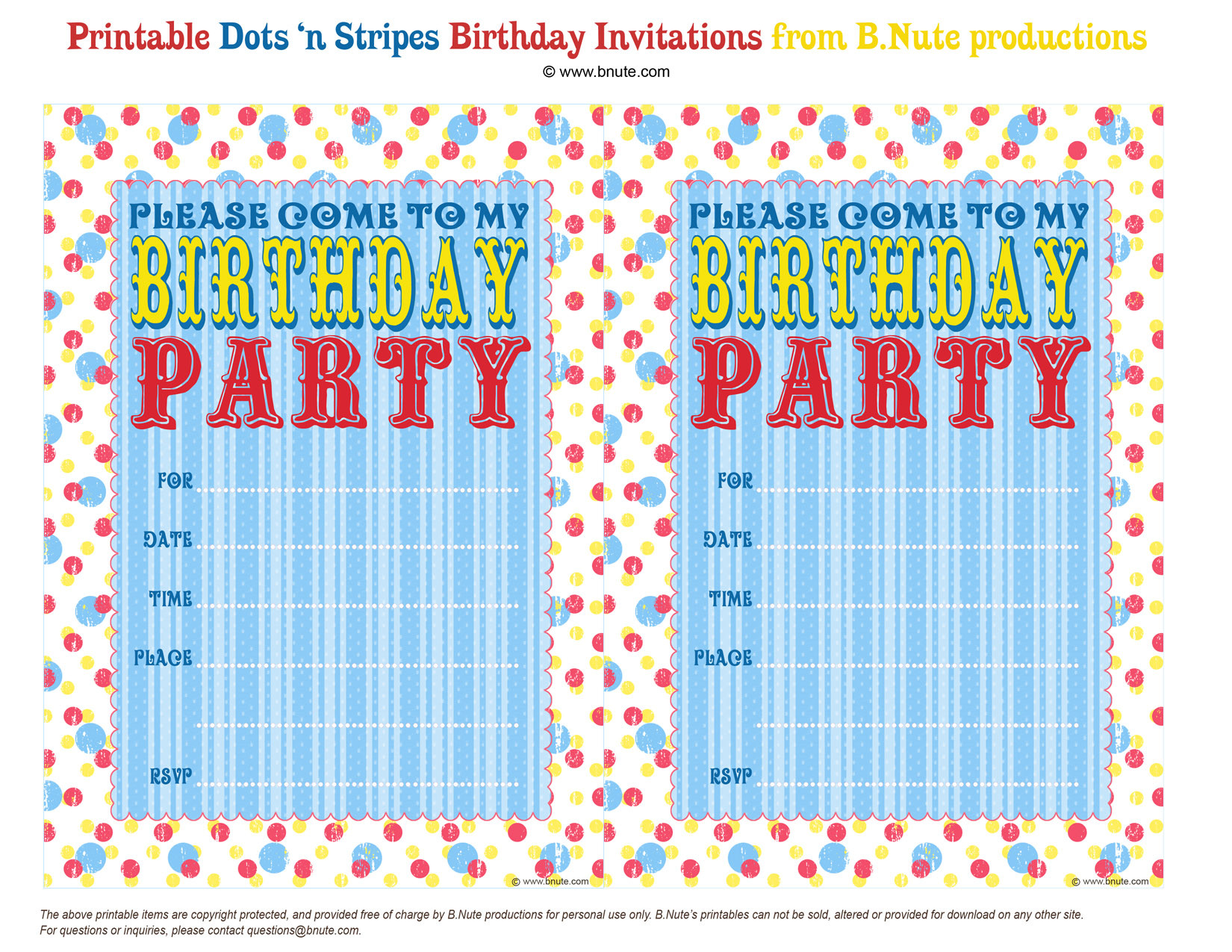 Best ideas about Printable Birthday Invitations . Save or Pin Dots n Stripes Free Printable Party Invitations Now.