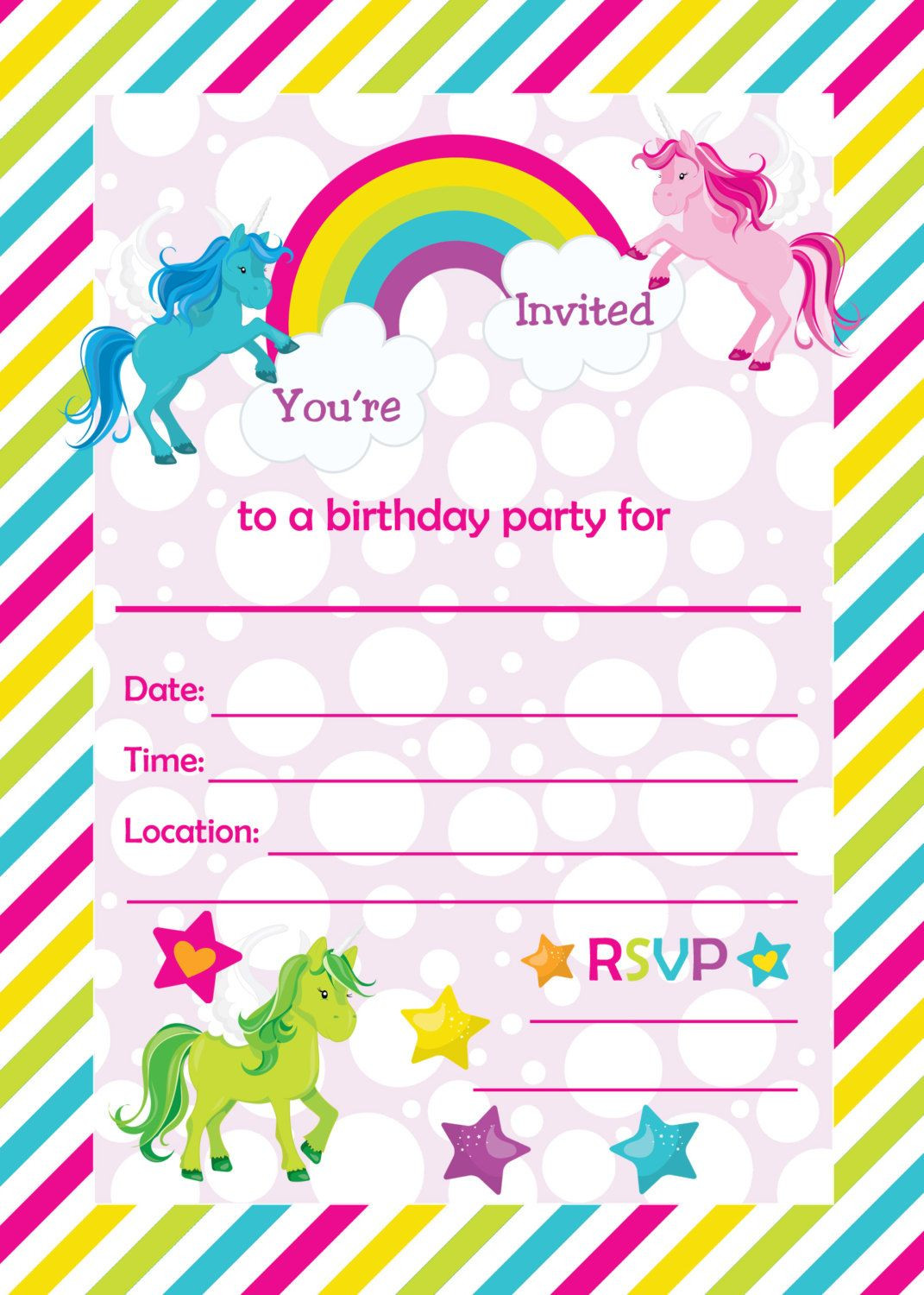 Best ideas about Printable Birthday Invitations . Save or Pin Fill In Birthday Party Invitations Printable Rainbows and Now.