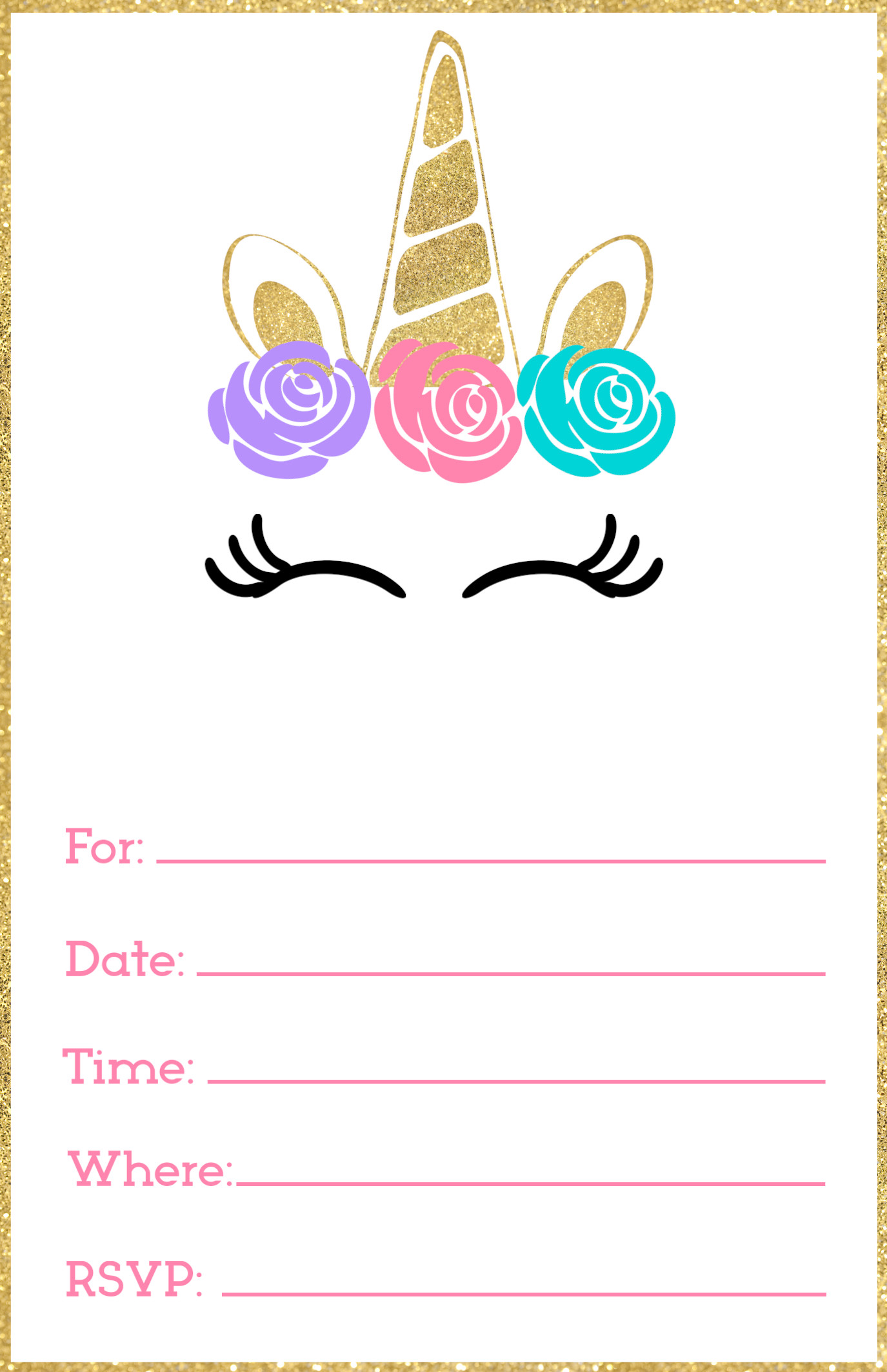 Best ideas about Printable Birthday Invitations . Save or Pin Free Printable Unicorn Invitations Template Paper Trail Now.