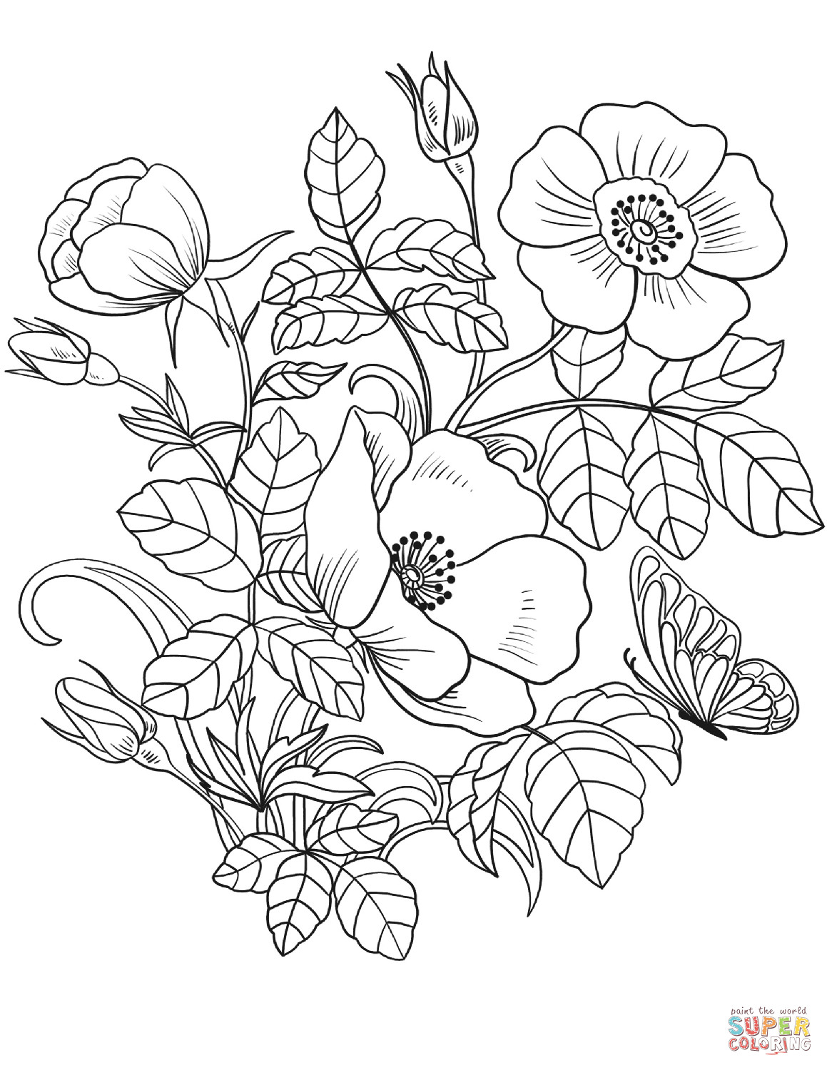 Best ideas about Printable Coloring Pages Flowers . Save or Pin Spring Flowers coloring page Now.