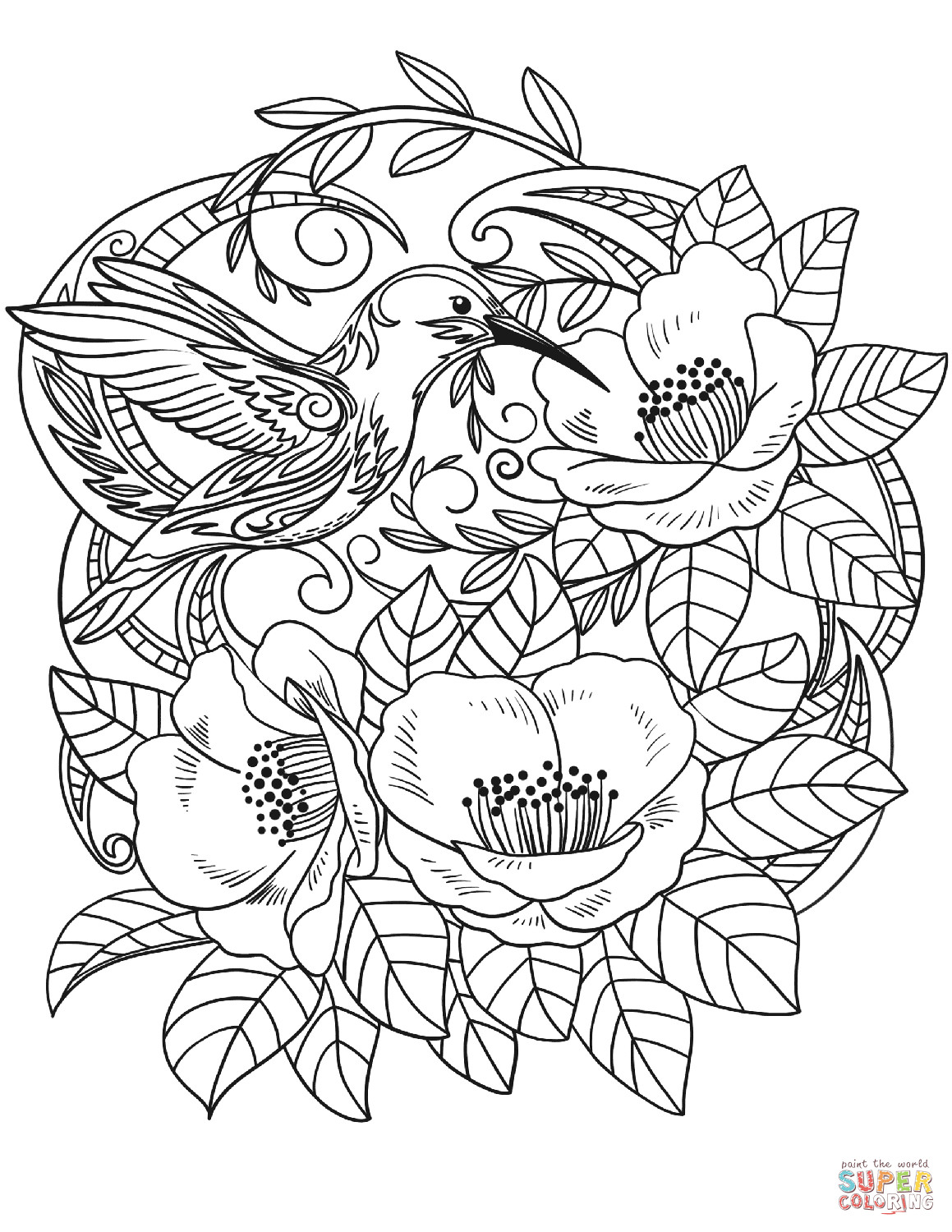 Best ideas about Printable Coloring Pages Flowers . Save or Pin Hummingbird in Flowers coloring page Now.