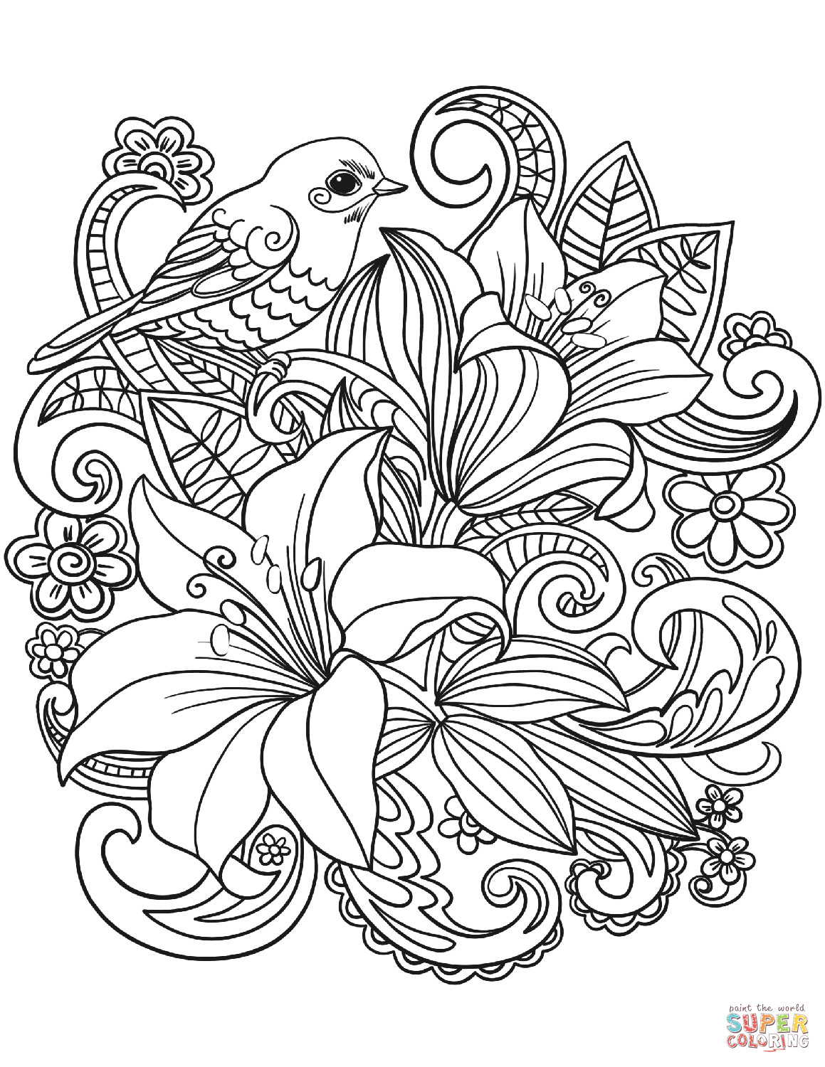 Best ideas about Printable Coloring Pages Flowers . Save or Pin Skylark and Flowers coloring page Now.