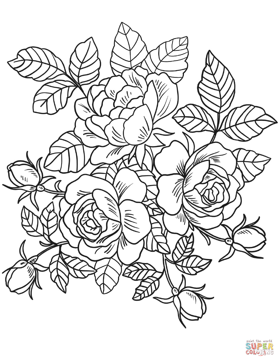Best ideas about Printable Coloring Pages Flowers . Save or Pin Roses Flowers coloring page Now.