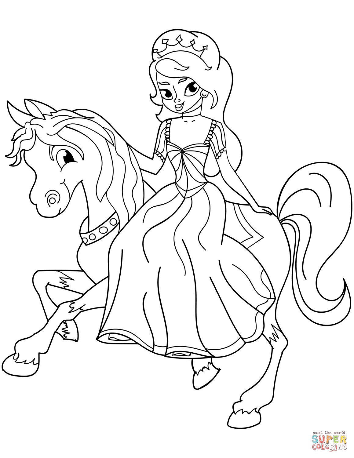 Best ideas about Printable Coloring Pages Princess . Save or Pin Princess Riding Horse coloring page Now.