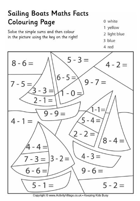 Best ideas about Printable Coloring Sheets For Kids With Math . Save or Pin Sailing Boats Maths Facts Colouring Page Now.