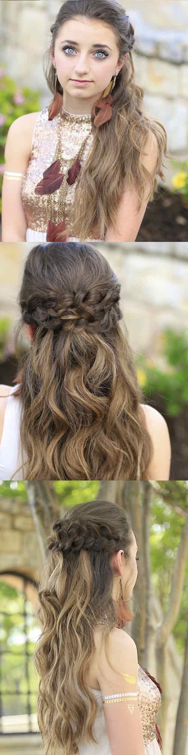 Best ideas about Prom Hairstyles For Medium Hair Down . Save or Pin 25 Easy Half Up Half Down Hairstyle Tutorials For Prom Now.