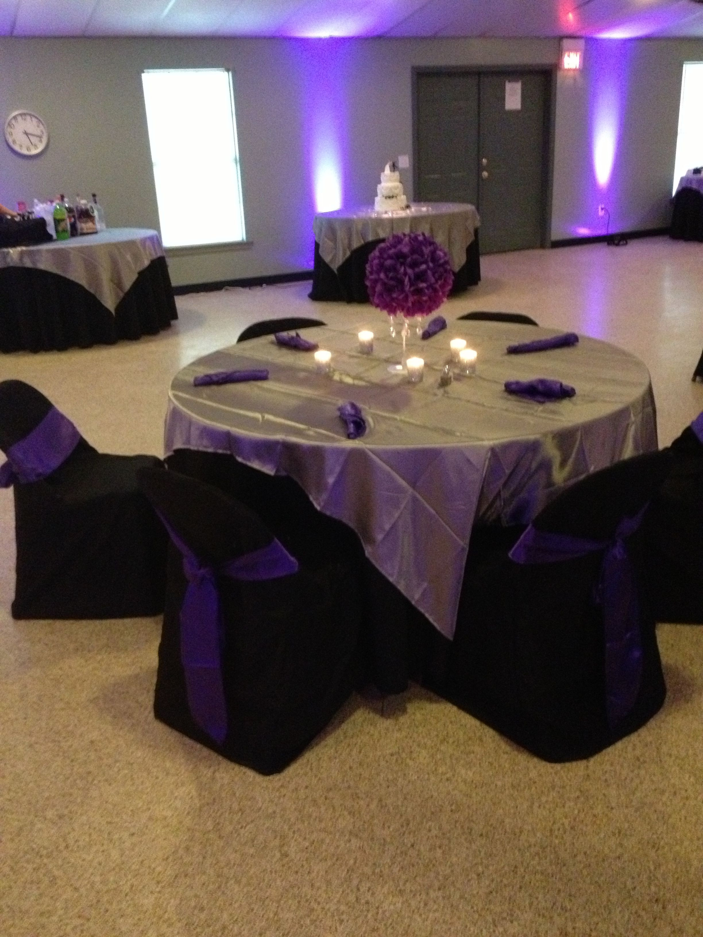 Best ideas about Purple And Silver Birthday Decorations . Save or Pin Purple black silver table decoration Now.