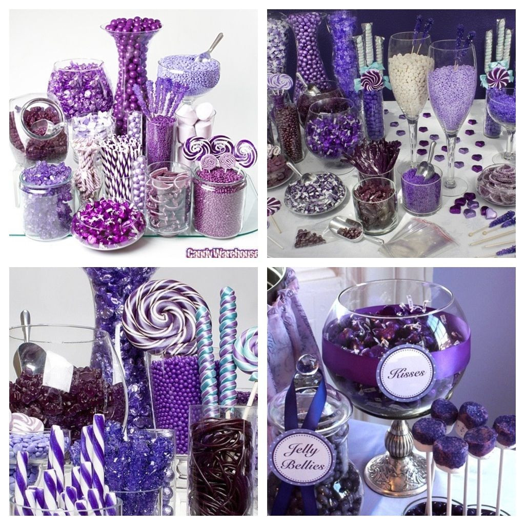 Best ideas about Purple And Silver Birthday Decorations . Save or Pin Purple candy buffet A must have Something sweet Now.
