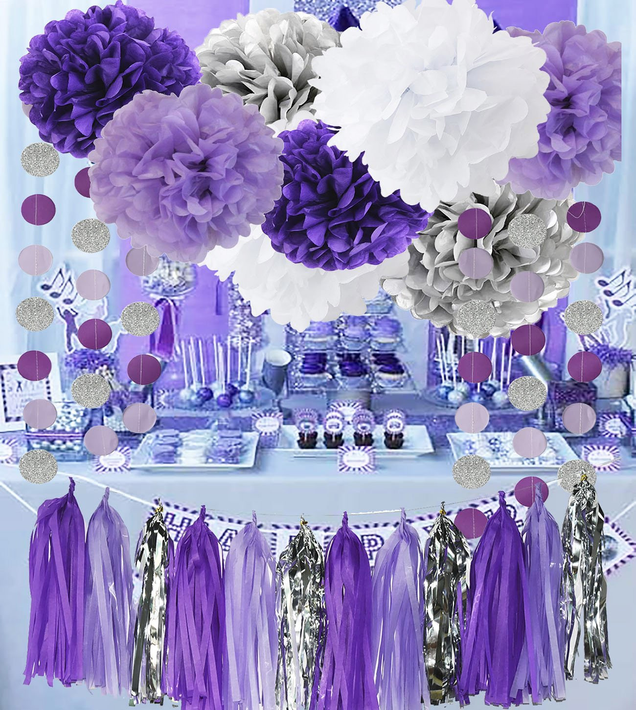 Best ideas about Purple And Silver Birthday Decorations . Save or Pin Amazon 12 Purple Fillable Bottles for Baby Shower Now.