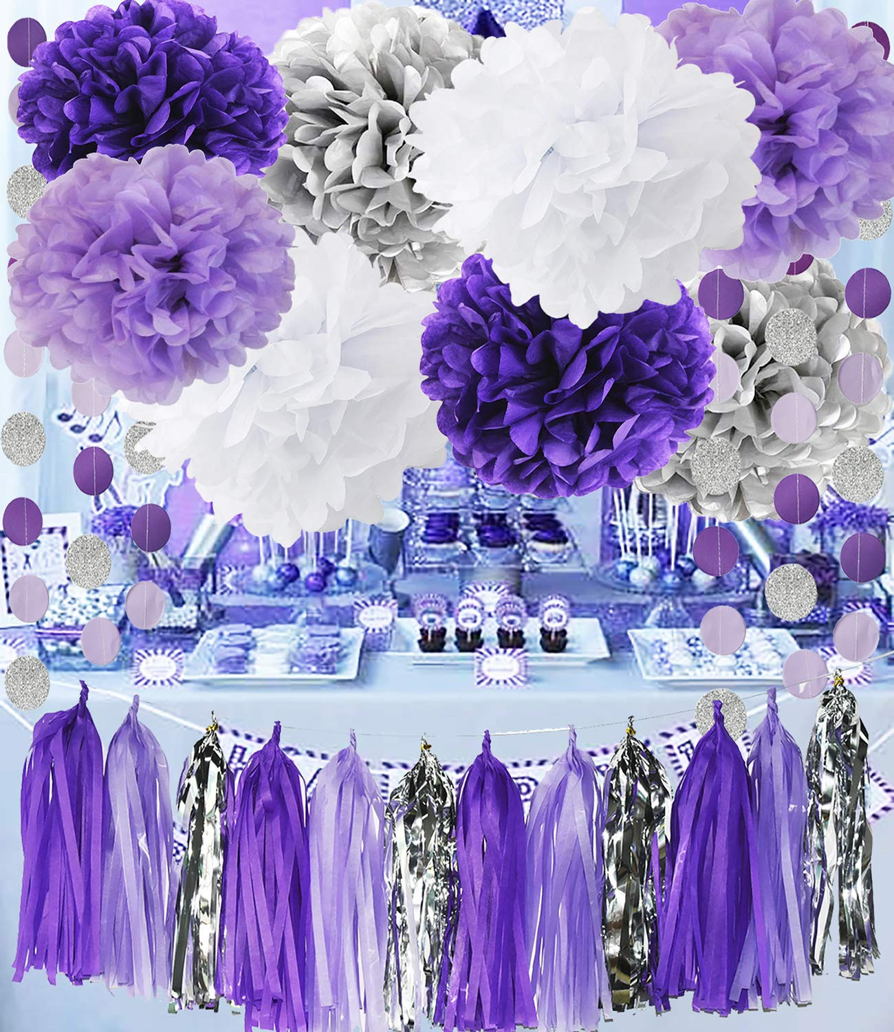 Best ideas about Purple And Silver Birthday Decorations . Save or Pin Amazon Akak Store MISS TO MRS Vintage Wedding Bunting Now.
