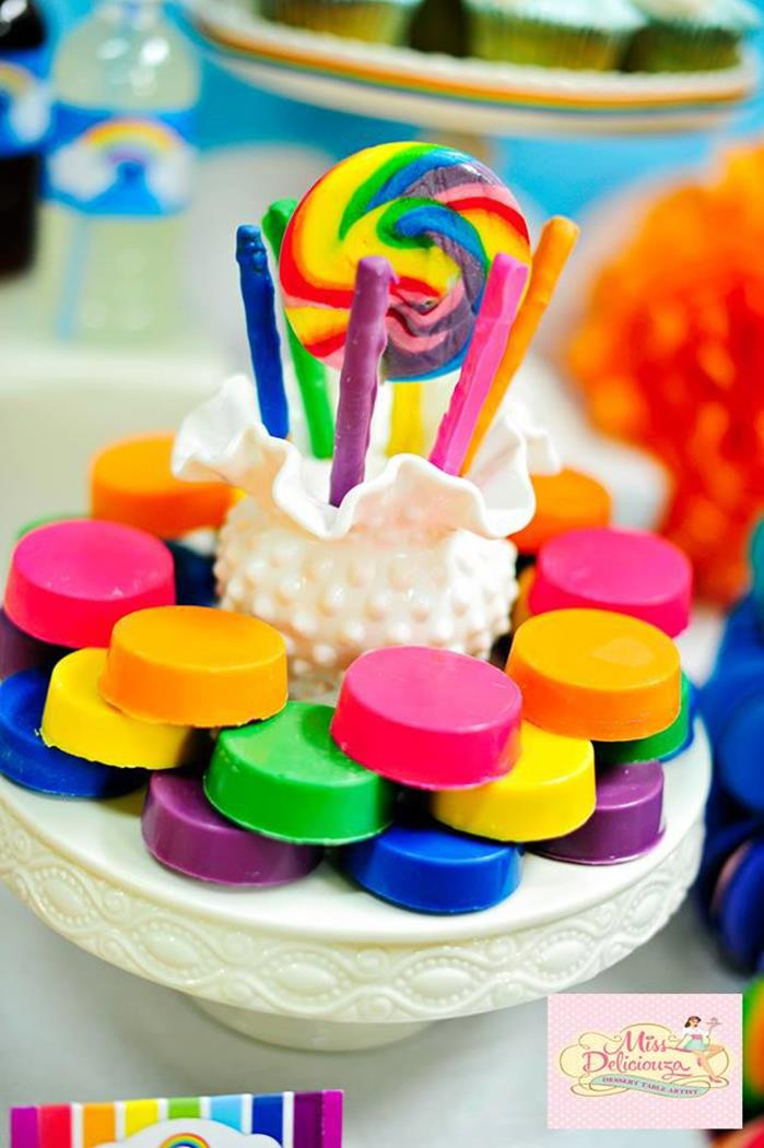 Best ideas about Rainbow Birthday Decorations . Save or Pin Kara s Party Ideas Girly Rainbow Birthday Party Planning Now.