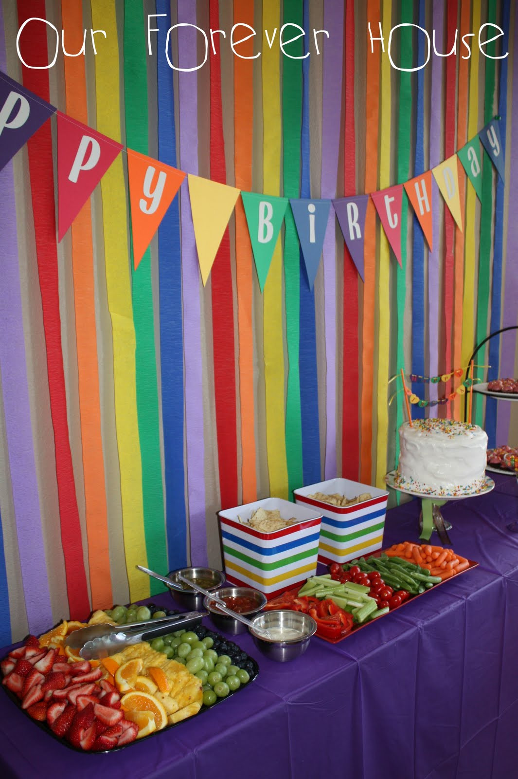 Best ideas about Rainbow Birthday Decorations . Save or Pin Our Forever House Rainbow Pool Party Part 2 Now.