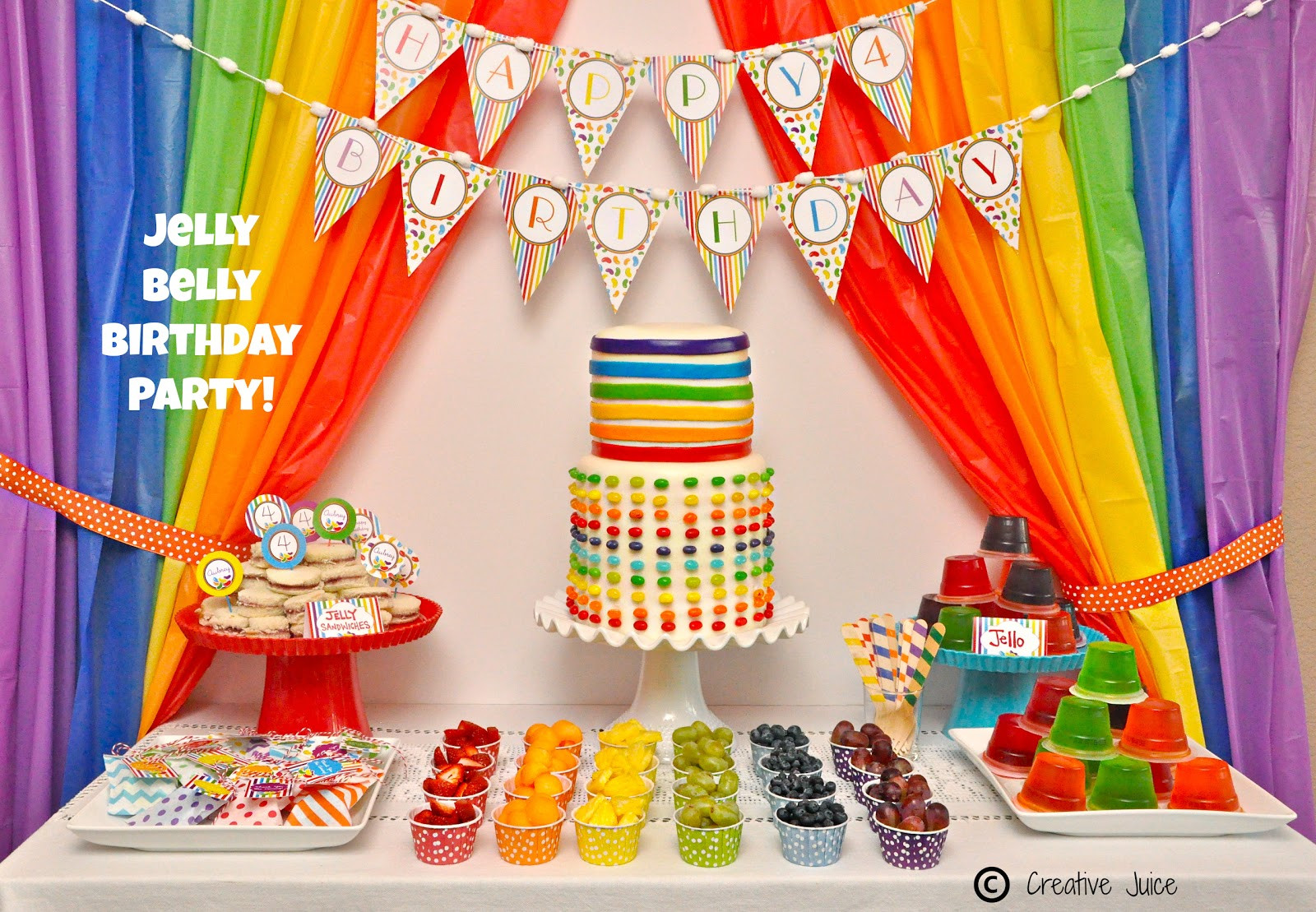Best ideas about Rainbow Birthday Decorations . Save or Pin Rainbow Jelly Bean Birthday Party Ideas Party Ideas Now.