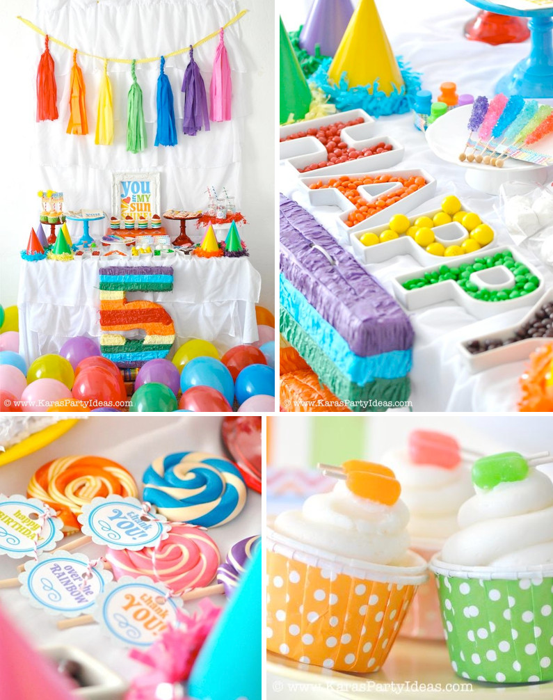 Best ideas about Rainbow Birthday Decorations . Save or Pin Rainbow Candy Buffet Now.